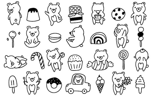 かわいいスカンジナビアスタイルのクマ、カブ、お菓子落書き手描きイラスト