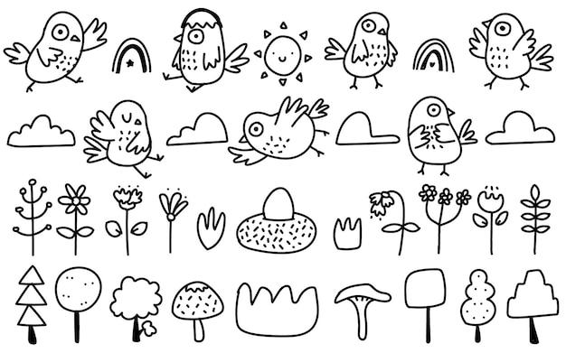 かわいいスカンジナビアスタイルの鳥、花、天気落書き手描きイラスト