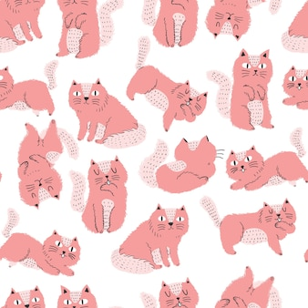 Cute scandinavian style cat seamless pattern