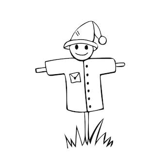 Cute scarecrow hand drawn doodle vector