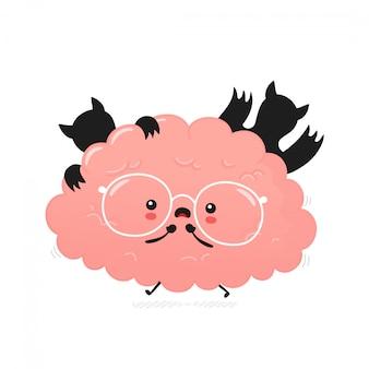 Милый напуганный человеческий мозг. дизайн значка иллюстрации персонажа из мультфильма. изолированный на белой предпосылке
