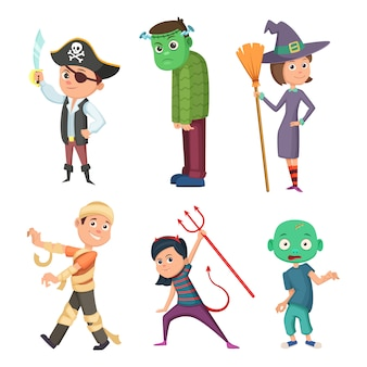 Cute and scary halloween costume for kids. zombie, pirate, devil and others. vector collection in cartoon style