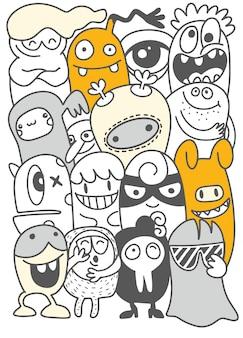 かわいい怖いハロウィーンモンスターとキャンディ、手描きのラインアート漫画ベクトルイラスト