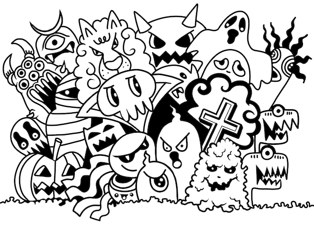 Cute scary halloween monsters and ghost
