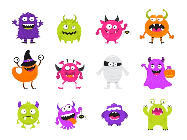 Cute scary halloween monsters set