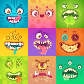 Cute and scary monster face with eyes and mouth. halloween mascot characters