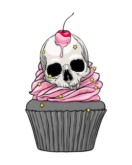 Cute scary skull cupcake with pink cream and cherry illustration