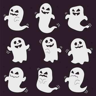 Cute and scary white halloween ghosts