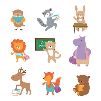 Cute school animals. bear raccoon lion hare hippo fox, pupils with books and backpacks. back to school  characters