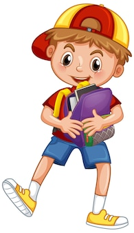 Cute school boy holding backpack