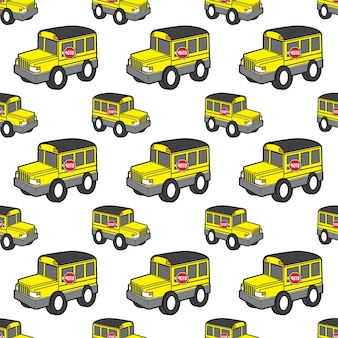 Cute school bus seamless pattern