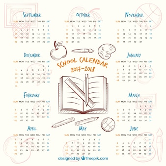 Cute school calendar with hand drawn style