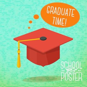Симпатичная школа, колледж, университет - выпускной колпак, с речевым пузырем и слоганом