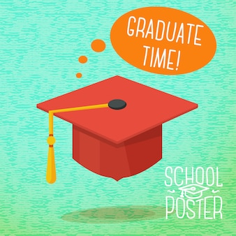 Cute school, college, university - graduation cap, with speech bubble and slogan