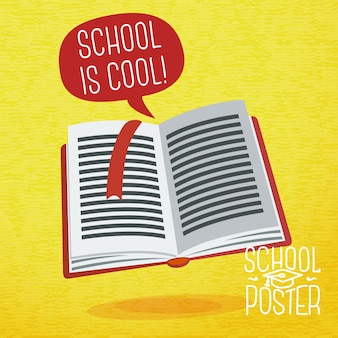 Cute school, college, university - study book, with speech bubble and slogan -school is cool