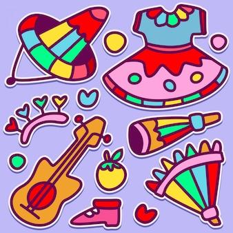 Cute school doodle design illustration
