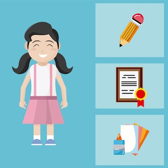 School utensils vectors photos and psd files free download cute school girl with utensils cartoons voltagebd Images