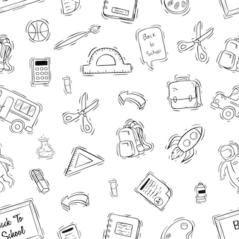 Cute school icons in seamless pattern with hand drawn style