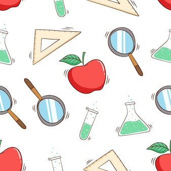Cute school or laboratory equipment in seamless pattern with colored doodle style