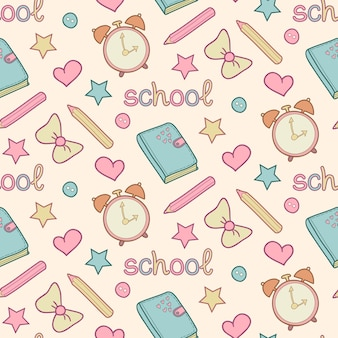 Cute school seamless pattern with diary, alarm clock, colored pencils, bow, heart, star.