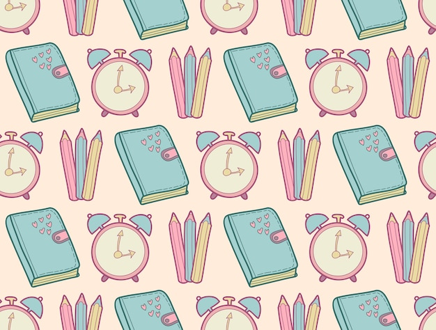 Cute school seamless pattern with diary, alarm clock, colored pencils.