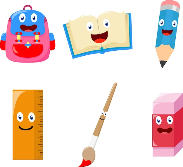Cute school supplies cartoon