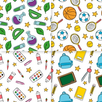 Cute school supplies hand drawn seamless pattern