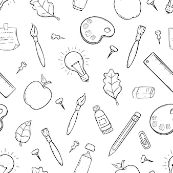 Cute school supplies or items in seamless pattern using doodle art
