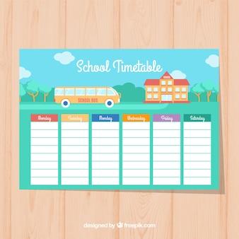 Cute school tiemtable with bus and school