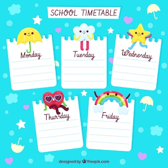 Cute school timetable design