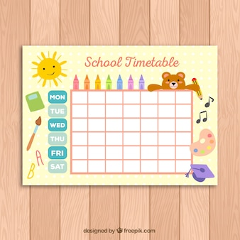 Cute school timetable template for kids Free Vector