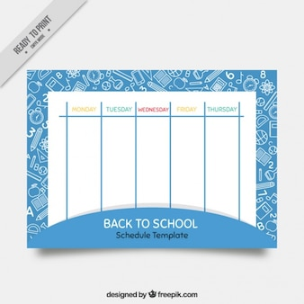 Cute school timetable with drawings