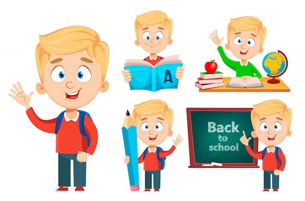 Cute schoolboy, set of five poses