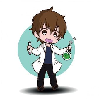 Cute scientist cartoon character., job concept.