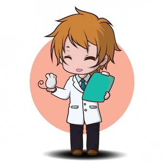 Cute scientist cartoon character., job concept.
