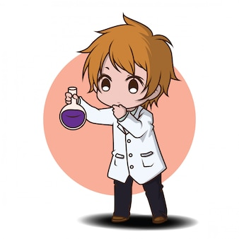 Cute scientist cartoon character.