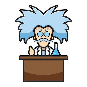 Милый ученый персонаж эксперимент химический мультфильм вектор значок иллюстрации. концепция значок технологии науки изолированных вектор. плоский мультяшный стиль