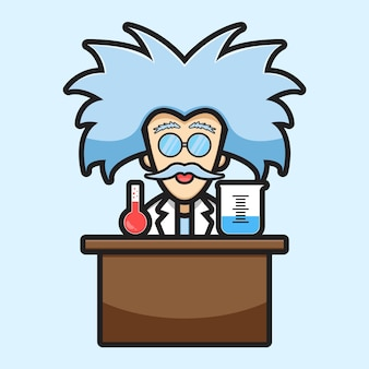 Cute scientist character experiment chemical cartoon vector icon illustration. science technology icon concept isolated vector. flat cartoon style