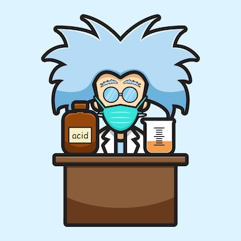 Милый ученый персонаж в маске эксперимент опасный химический мультфильм вектор значок иллюстрации. концепция значок технологии науки изолированных вектор. плоский мультяшный стиль