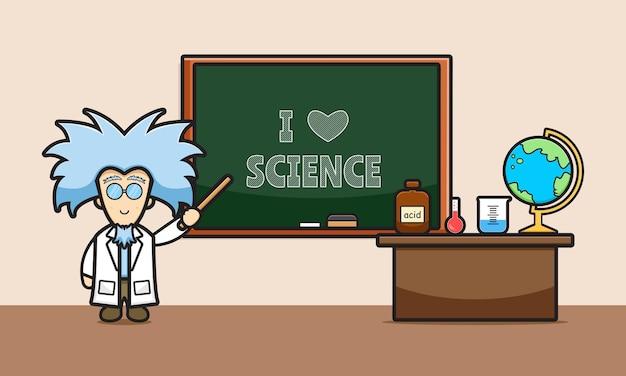 Милый ученый в классе мультфильм значок иллюстрации. дизайн изолированные плоский мультяшном стиле
