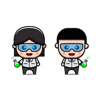 Cute scientist professor vector icon illustration. isolated. science experiment cartoon style suitable for sticker, web landing page, banner, flyer, mascots, poster.