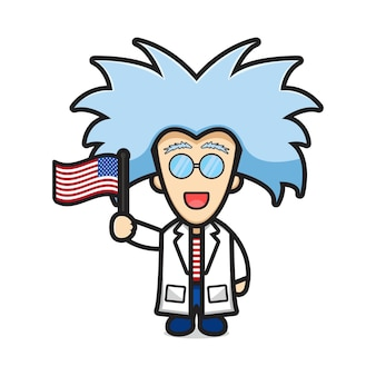 Cute scientist with crazy hair cartoon holding united states of america flag illustration