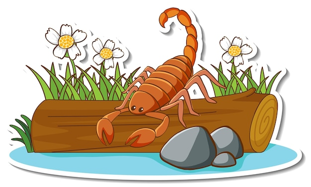 Милый скорпион, стоящий на бревенчатой наклейке