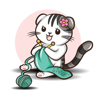 Cute scottish fold cat cartoon vector.