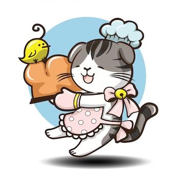Cute scottish fold cat cartoon .