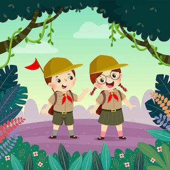 Cute scout boy and scout girl hiking in the forest. children have summer outdoor adventure.
