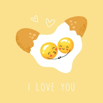 Cute scrambled eggs, a couple in love, cartoon character, valentine's day, valentine card