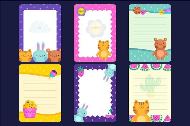 かわいいスクラップブックのノートとカード