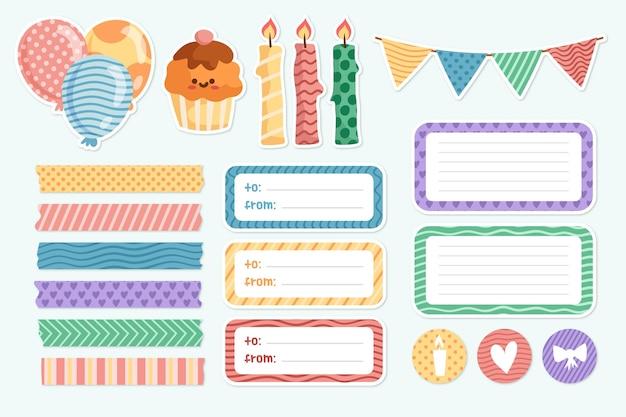 생일 파티를위한 귀여운 스크랩북 컬렉션