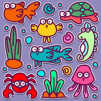 Симпатичные морские животные каракули дизайн иллюстрация